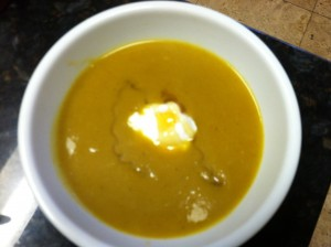 Curry Butternut Squash Soup, just in time for the fall