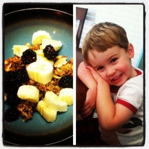My Julian waiting so patiently for his Paleo crunch cereal this morning. I can't decide which is sweeter.