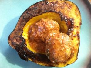 Crock Pot Paleo Meatballs served over roasted acorn squash
