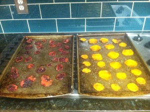 40 minutes of roasting the Homemade oven roasted beet chips