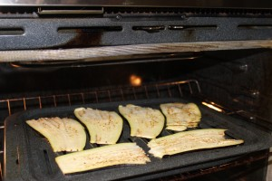 Broiling the eggplant slices in the oven