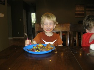 Now you know why I always cook; to think if I didn't, I would miss that cute satisfied face. Jackson, as you can see, is a tougher critic