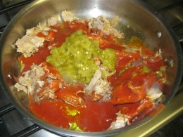 Step 1: Cook the carnitas with tomato sauce and green chiles then mix in dry spices