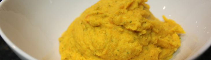 Close up of the Paleo parsnip and carrot puree