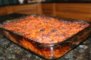 Finished product of the 100% Paleo lasagna out of the oven and bubbling with yumminess