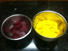 Homemade oven roasted beet chips are ready to be seasoned and roasted