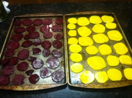 Homemade oven roasted beet chips are ready to go in the oven