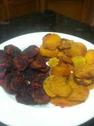 Homemade oven roasted beet chips were so good it was hard to not devour them immediately