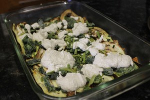 """One complete layer for the 100% Paleo lasagna of homemade meat sauce, eggplant """"noodles"""", spinach and walnut sauce."""