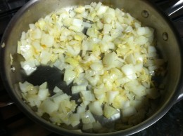 Sauteing the onions and garlic