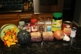Paleo Bison and Acorn Squash Chili Ingredients