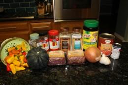 Paleo Bison and Acorn Squash Chili Ingredients