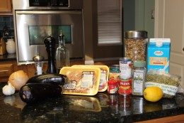 "Paleo Lasagna Ingredients sans the frozen spinach. And don't ask why the lemon is there. I blame my ""little helpers"""