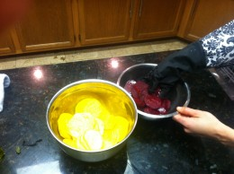 Pour 2-4 teaspoons of olive oil and evenly coat all beet slices