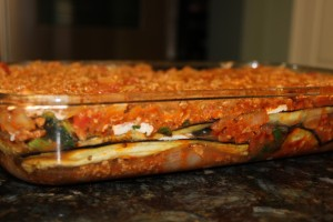 Side view of all the yummy layers of the 100% Paleo lasagna