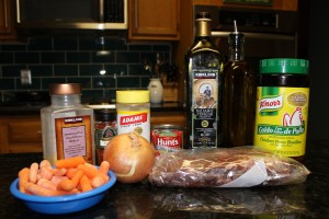 Ingredients for my Crock Pot Paleo Beef Stew in a Tomato and Balsamic Reduction Sauce