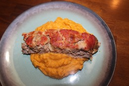 Paleo Meatloaf served with my roasted sweet potatoes, onions and garlic puree. Y-U-M!