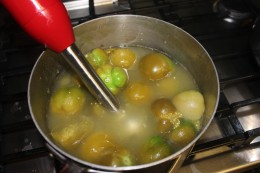 After boiling the tomatillos they lose their beautiful color but nonetheless they are very tasty