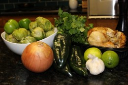 Close up of the fresh ingredients for my Paleo Chicken and Butternut Squash Chili Verde with Fresh Tomatillos