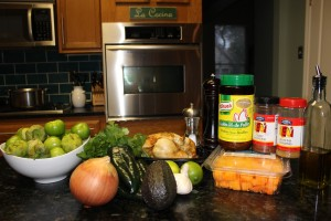 Ingredients for my Paleo Chicken and Butternut Squash Chili Verde with Fresh Tomatillos