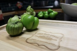 There are no words for two of my favorite things: my personalized OurFullPlate cutting board and fresh tomatillos!