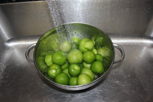 Washing my dehusked tomatillos. What an artistic picture?!?
