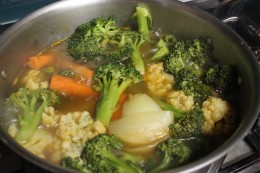 After boiling the vegetables and broth for 20 minutes the veggies are tender and ready to blend