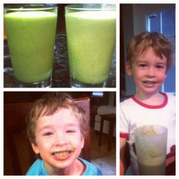 Milk mustaches were so last year. The boys proudly sporting their green mustaches which is the best part about these smoothies, they are kid tested and mother approved