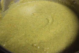 Close up of the yummy Paleo Broccoli Vegetable Soup. So creamy!