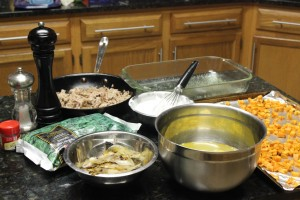 The assembly line is ready for my Paleo Pork Sausage Veggie and Egg Breakfast Casserole