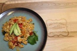 The finished product... my yummy Paleo Migas served with fresh avocado and cilantro