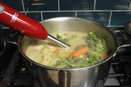 The immersion blender is ready to work its magic and make my yummy Paleo Broccoli Vegetable Soup