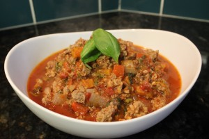 My Homemade Paleo Ground Beef and Pork Tomato Meat Sauce is ready to serve
