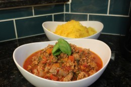 Served my Homemade Paleo Ground Beef and Pork Tomato Meat Sauce Version 2.0 with roasted spaghetti squash