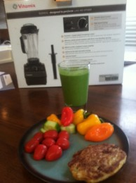 My Paleo 21DSD Green Monster Smoothie is good any time of the day. Here I had it with lunch, lots of fresh veggies and a chicken and jalapeno burger