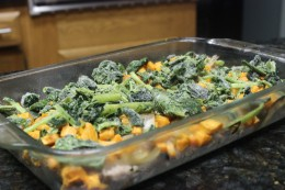 Fourth step is to add 2 cups of frozen spinach to my Paleo Pork Sausage Veggie and Egg Breakfast Casserole
