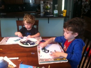 After the project was over, I let the boys go wild with finger painting. Sometimes after doing something refined, I find kids need to do something without boundaries and limits. Bonus, I used the fingerpainting for the homemade Mother's Day Cards.