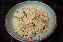 A close up of my Paleo No Grain Cauliflower Cilantro Lime Rice. It is THAT good.