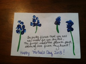 Close up of the Mothers Day DIY project poem and finger print flowers
