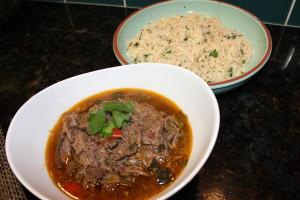 My Paleo Crock Pot Beef Fajitas and my no grain cauliflower lime cilantro rice
