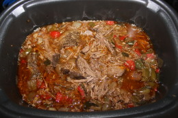 Shredded the beef fajitas right in the crock pot before serving
