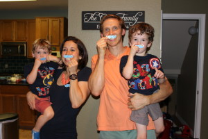 "BEST family picture with the verdict....Staches! I really am excited about my new title, ""Boymom"""
