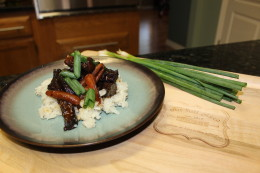 The final product...The Crock Pot Paleo Mongolian Beef served over my no grain cauliflower rice side