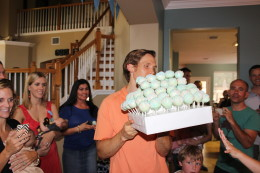 Getting ready for the BIG reveal. Ben about to pass out the cake balls