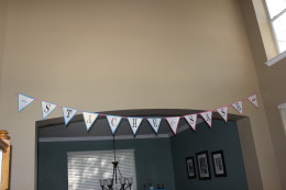 Homemade Stache or Sash banner. It turned out so cute!