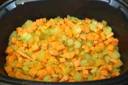 Once the spices were blended, I added the raw cubed sweet potato and beef broth and simmered for another minute