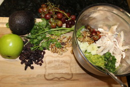 Starting to add all the ingredients for my creamy Paleo Avocado Chicken Salad