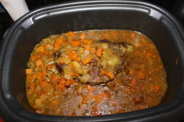What the beef looks like after cooking all day in the crock pot