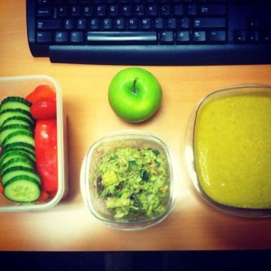 "Here is actually what I brought to work for a few days, my yummy Paleo Avocado chicken salad with my Paleo Broccoli and Vegetable soup, with fresh veggies and a Granny Smith apple. What a ""green"" yet tasty and filing lunch for sure, wouldn't you agree?"