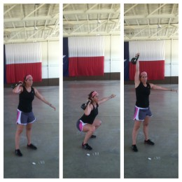 Doing single arm kettlebell thrusters at 6 months. This is a great alternative to when your belly gets in the way
